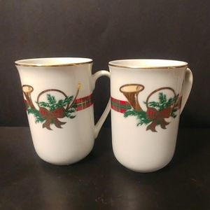 2 The Hunt Georges Briard Xmass Porcelain Mugs